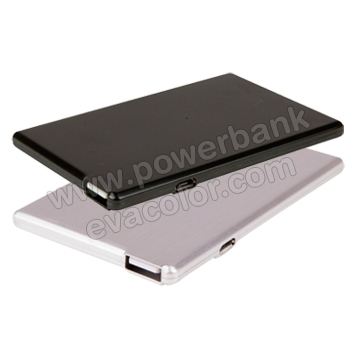 Tarjeta Power bank con memoria usb integrada en color plata y negro personalizados