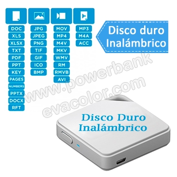 Mini disco duro inalambrico para regalos corporativos VIP ideal para guardar imagenes, videos, audios y archivos
