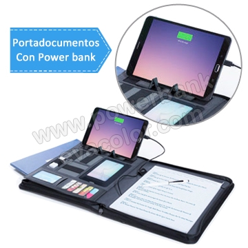 Carperta portadocumentos con cargador powerbank para moviles smartPhone y tablets
