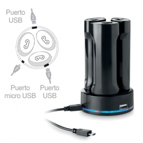 Estacion de carga USB para moviles y tablets con juego de 3 powerbank de 2200mAh