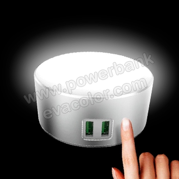 Lampara tactil con luz LED regulable con puerto usb dual para recargar moviles, un regalo corporativo para profesionales.