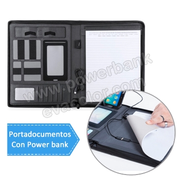 Portadocumento de simil piel con power bank para regalos de empresa