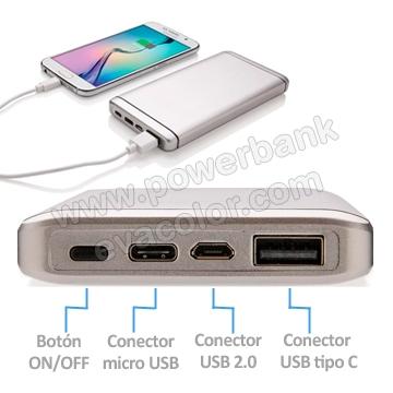 comprar power bank con conector usb tipo c para moviles y tablets