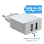 Cargador de pared con doble USB para recargar dispositivos electronicos, moviles y tablets