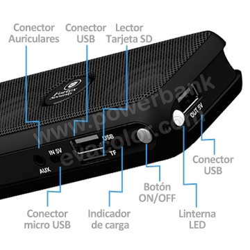 Altavoz power bank con bluetooh para moviles de grandes prestaciones