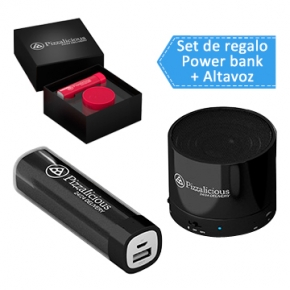 Set powerbank con mini altavoz inalambrico para regalar en congresos y cursos